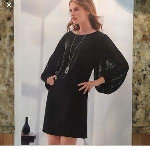 White House black market chiffon sleeves dress